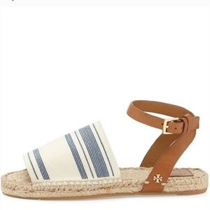Tory Burch blue and cream awning stripe espadrille
